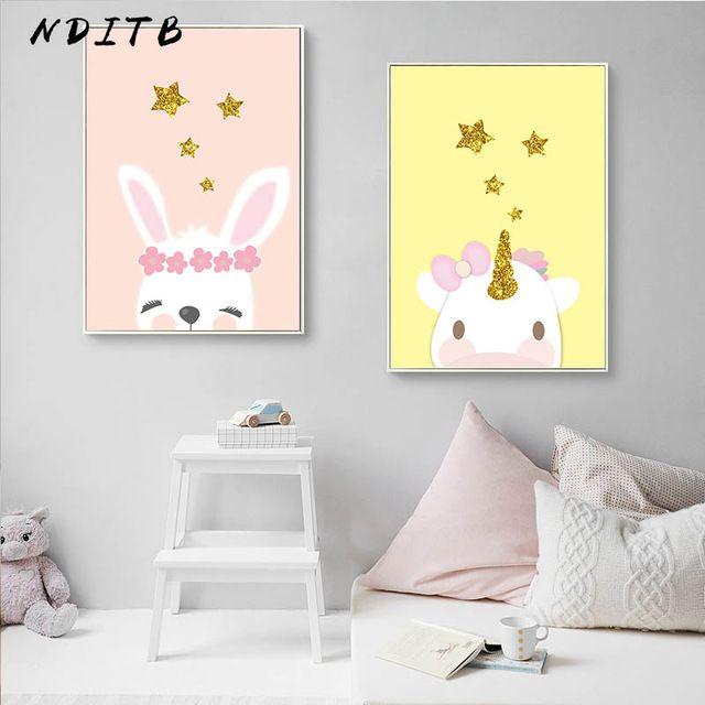 Minimalist Poster Bernilai Cute Unicorn Rabbit Canvas Poster Nursery Wall Art Print Lovely