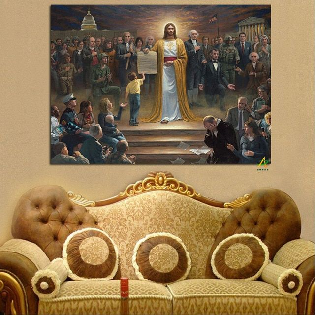 ywdecor cetakan kanvas lukisan agama kristen yesus kembali ke bumi digital untuk seni dinding ruang tamu