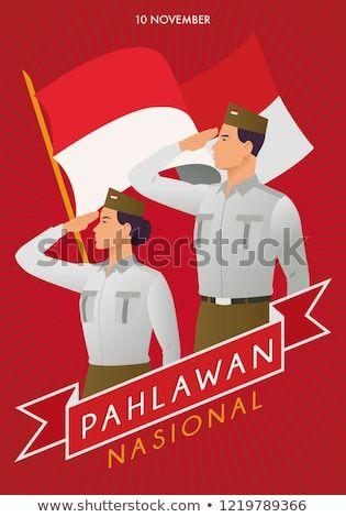 Poster Pahlawan Berguna Commemorating Pahlawan Nasional Indonesian National Heroes Stock