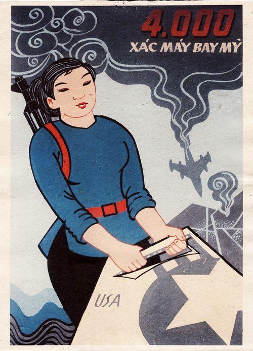 Propaganda Poster Berguna 4000 Determined American Aircraft Vietnamese Propaganda Poster Art