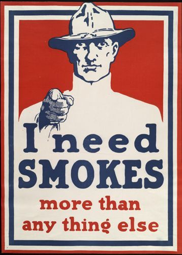 vintage poster red white and blue image of a american soldier pointing by an unknown artist printed between 1914 and 1919 the famous i need smokes more