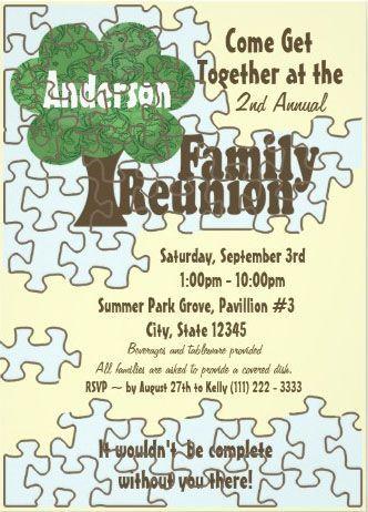 Reunion Poster Terbaik Jigsaw Puzzle Tree Family Reunion Invitations