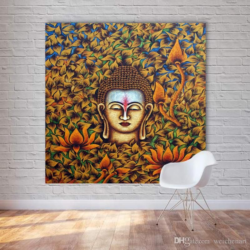 2019 1 panel buddha head oil painting printed on canvas wall art poster and print for living room unframed decorative pictures no frame from weichenart