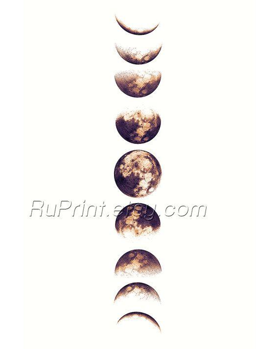 moon phases art printable wall decor moon poster luna print art poster wall decor downloadable
