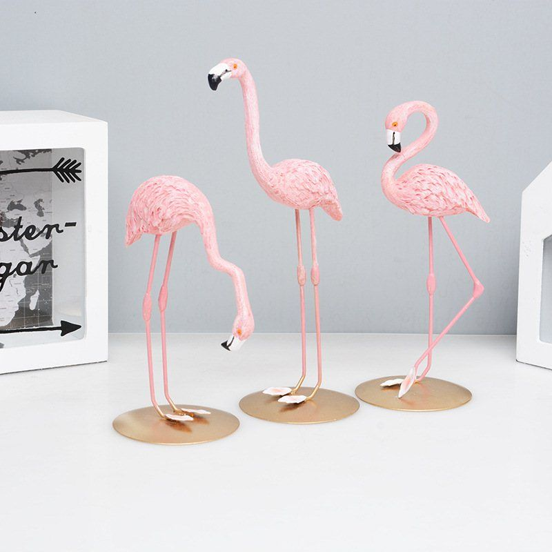 high quality resin pink flamingo decor for home decoration accessories sculpture figurine gifts wedding supplies home