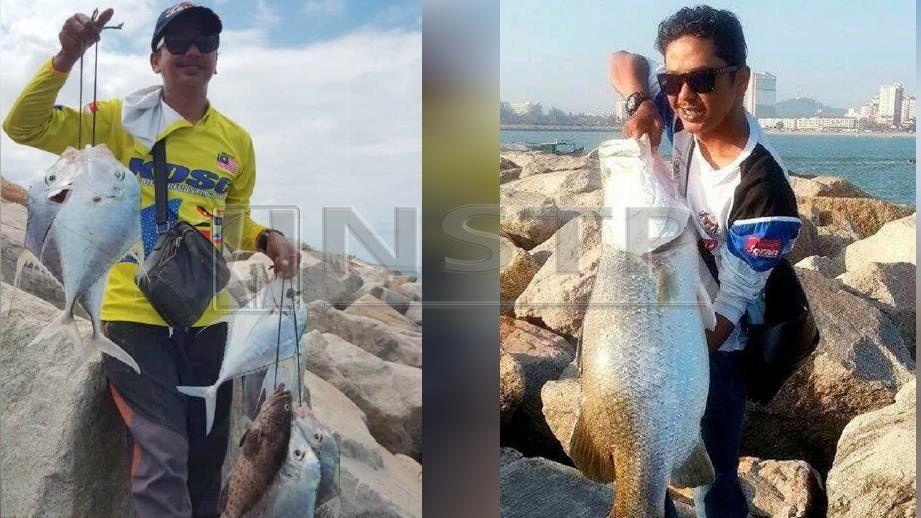 gambar kanan zaizuri menunjukkan ikan siakap putih seberat 19kg pernah dipancing di lokasi sama foto ahmad rabiul zulkifli