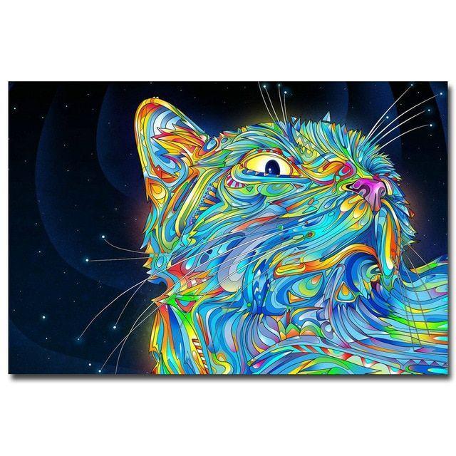 trippy psychedelic cat art silk canvas poster cetak 13x20 24x36 inch dinding abstrak gambar untuk tamu