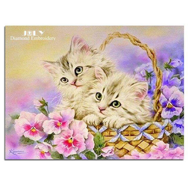 Gambar Kucing Merah Berguna Lukisan Rhinestones Bunga Merah Biru Berlian Bordir Kerajinan Hewan