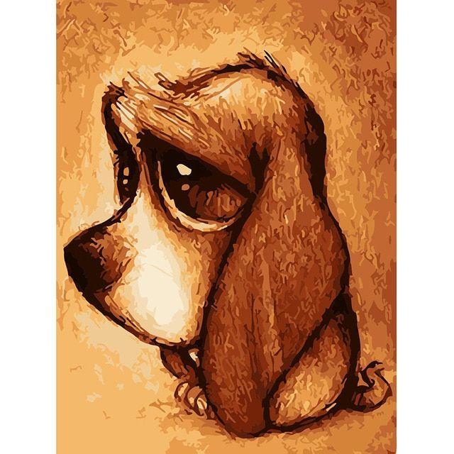 Gambar Mewarna Anjing Hutan Menarik Hewan Lucu Anjing Frameless Diy Lukisan Dengan Nomor Kit Mewarnai