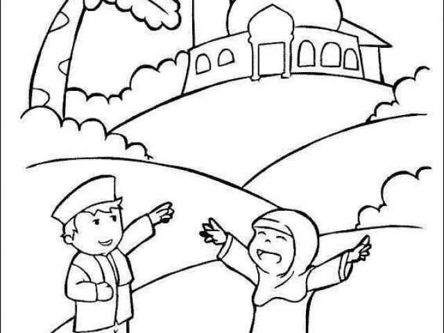 mewarnai gambar islami terbaru mewarnai gambar masjid untuk anak