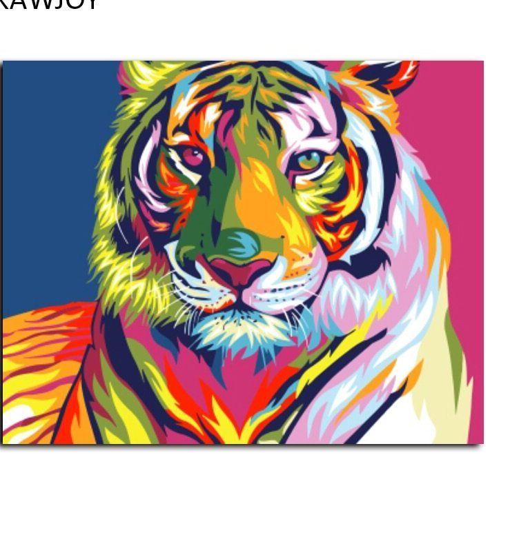 Gambar Mewarna Harimau Bintang Menarik A Drawjoy Framed Lukisan Nomor Dari Harimau Abstrak Diy Minyak