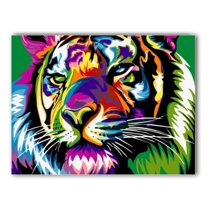 diy minyak lukisan dinding dekorasi tiger gambar pada kanvas cat minyak mewarnai dengan nomor gambar hewan hewan pola di painting calligraphy dari rumah
