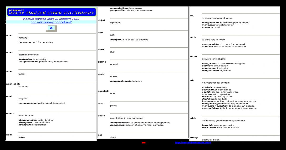 Gambar Mewarna Kelawar Telinga Pendek Bermanfaat Kamus Melayu Inggeris Pdf Document