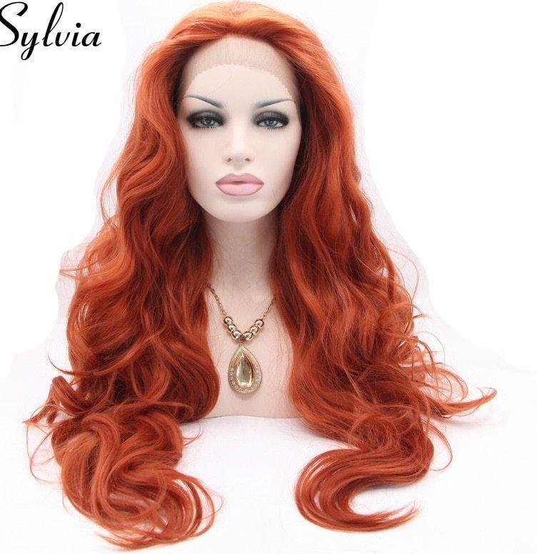 Gambar Mewarna Lotong Merah Penting A Sylvia Merah Brown Tubuh Gelombang Sintetis Wig Renda Depan 350