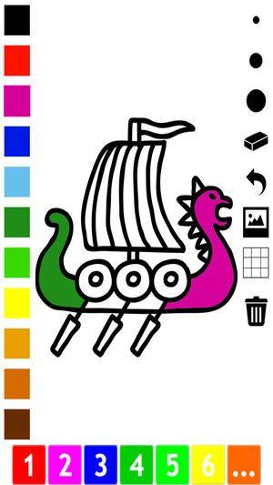 buku mewarna daripada viking untuk kanak kanak belajar untuk menarik dengan banyak gambar seperti viking kapal lelaki bot naga pedang topi keledar