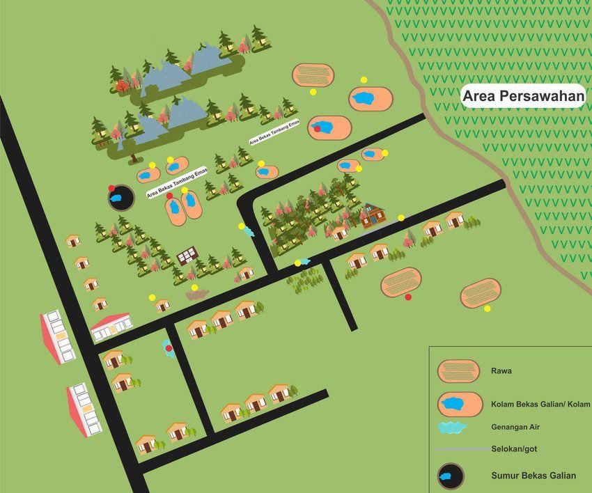 gambar 2 denah keberadaan 6 habitat nyamuk anopheles spp rawa kolam