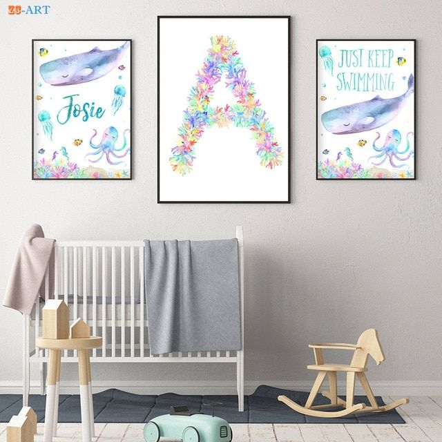 kartun kanvas lukisan laut tema pesta dekorasi warna warni dinding seni paus poster dan cetakan