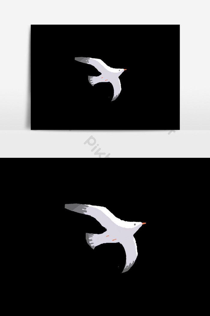 Poster Burung Camar Berguna Elemen Burung Camar Kartun Buatan Tangan Ilustrasi Templat Psd
