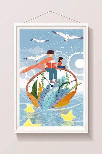 Poster Burung Camar Berguna Kartun Ayah Lucu Lucu Hari Ayah Dengan Ilustrasi Outing Anak