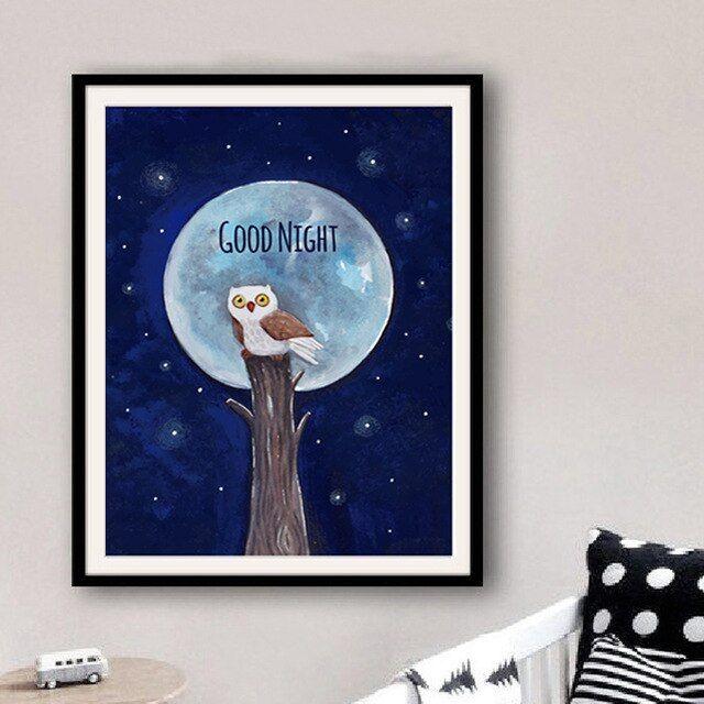 cat air burung hantu bulan selamat malam kartun kanvas lukisan manis nursery cetak poster nordic dinding