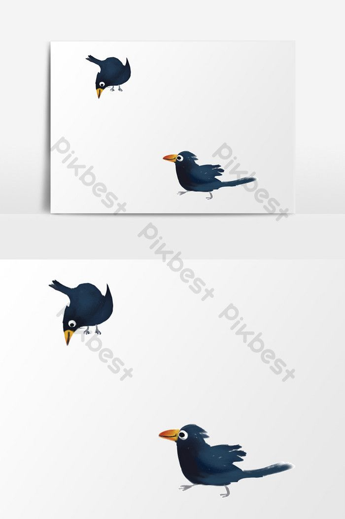 Poster Burung Gagak Bermanfaat Kartun Burung Gagak Elemen Digambar Tangan Ilustrasi Templat Psd