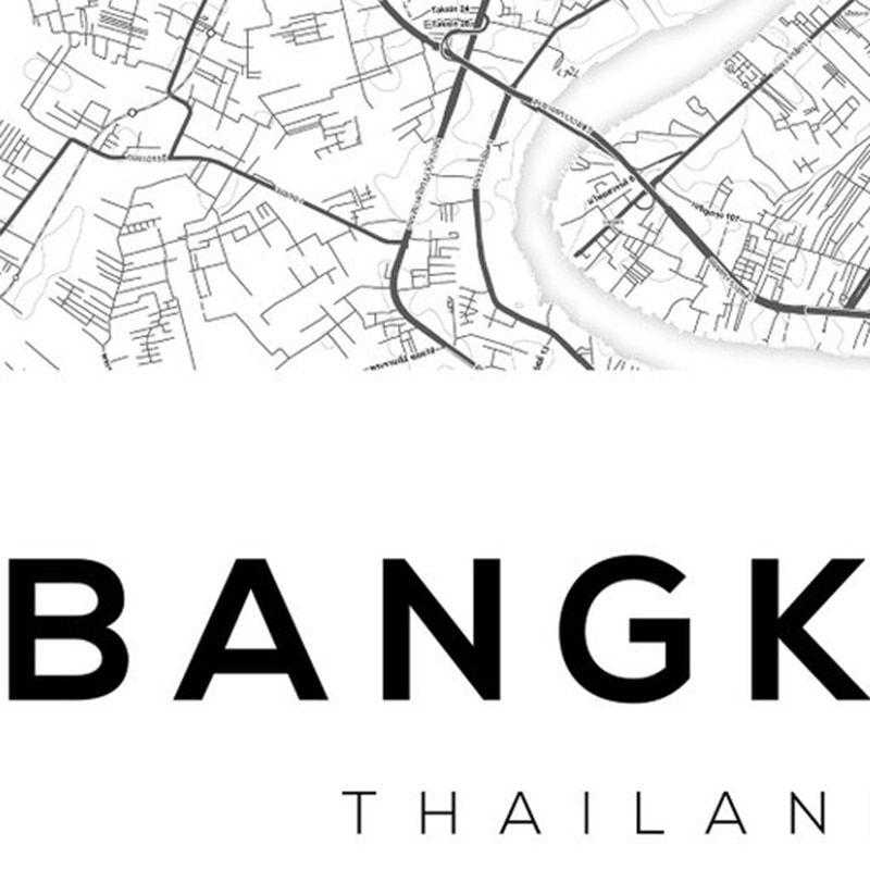 Poster Harimau Biru Hebat Bangkok Peta Poster Dan Cetakan Thailand Perjalanan Peta Kota Kanvas