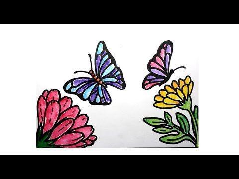 kertas lukisan mewarna kertas lukisan bunga hebat cara mewarnai kupu kupu dan bunga youtube
