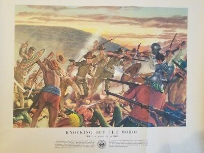 vintage poster history of the us army 12 knocking out the moros
