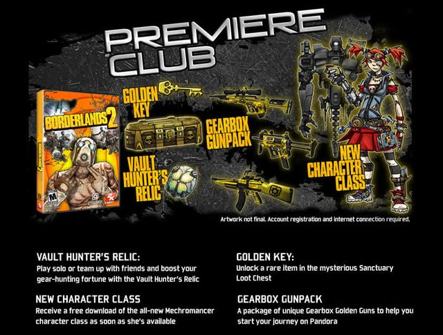 borderlands 2 premiere club png